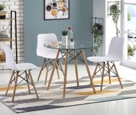 Stół z okrągłym blatem ze szkła Berus
