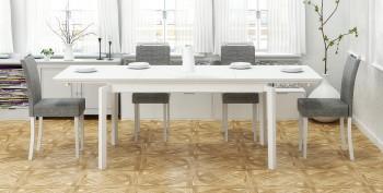 Rozkładany stół z blatem w okleinie naturalnej Rois biały