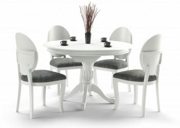Stół do jadalni z okrągłym blatem William biały