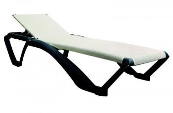 Dwukolorowy leżak ogrodowy z regulowanym oparciem Marina