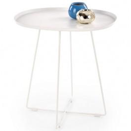 Metalowy stolik z blatem w kształcie tacy Tina biały