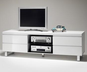 Biała szafka RTV w wysokim połysku Barney 4