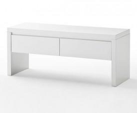 Biała ławka z szufladami w wysokim połysku Barney