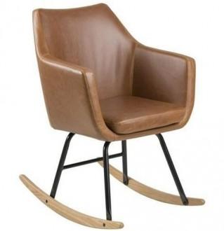 Fotel na płozach tapicerowany ekoskórą Nora Brandy