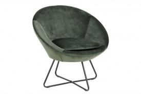 Fotel z poduszką tapicerowany tkaniną aksamitną Center VIC