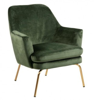 Tapicerowany fotel z poduszką Chisa VIC na złotych nogach