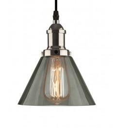 Chromowana lampa wisząca New York Loft 1 ze szklanym kloszem