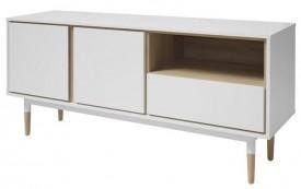 Biała komoda w stylu skandynawskim z drewnianymi wstawkami Olivia