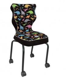 Dziecięce krzesło na kółkach z grafiką Rete Black