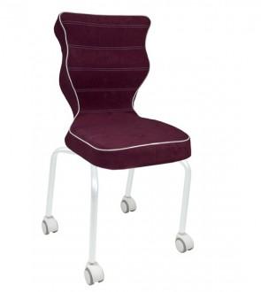 Krzesło dla młodzieży z podstawą na kółkach Rete White