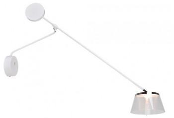 Biały kinkiet na wysięgniku z akrylowym kloszem Simplicity W