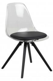 Nowoczesne krzesło z transparentnym oparciem Henning
