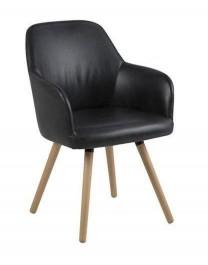 Krzesło tapicerowane ekoskórą na drewnianych nogach Luna