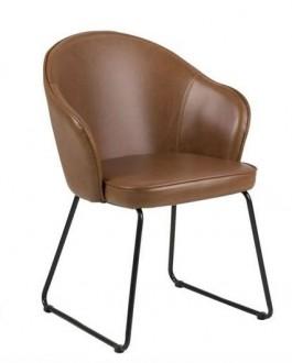 Krzesło z ekoskóry na płozach Mitzie Vintage Brandy