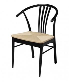 Drewniane krzesło z siedziskiem z włókna naturalnego York