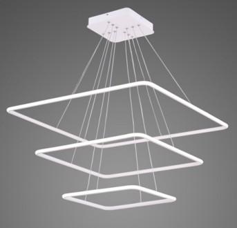 Potrójna lampa wisząca Ledowe Kwadraty 3 Out biała