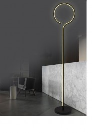 Designerska lampa podłogowa Ledowe Okręgi 1 In czarna