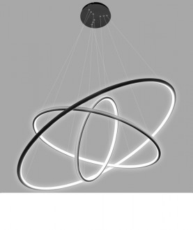 Potrójna lampa wisząca Ledowe Okręgi 3 In czarna