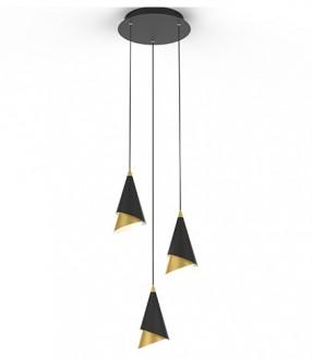 Metalowa lampa wisząca ze złotymi wstawkami Sirene 3