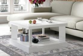 Kwadratowy stolik do salonu w połysku Domino 80x80 biały