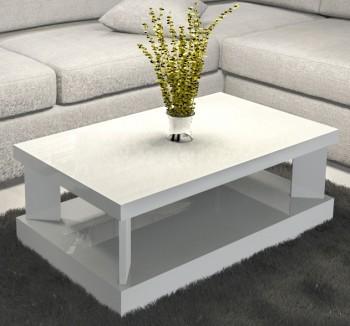 Prostokątny stolik do salonu w połysku Domino 100x60 biały
