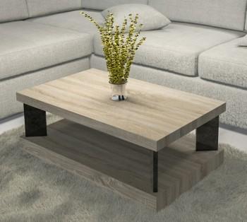 Prostokątny stolik do salonu Domino 100x60 dąb sonoma / czarny