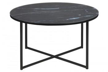 Okrągły stolik kawowy na czarnej podstawie z metalu Alisma