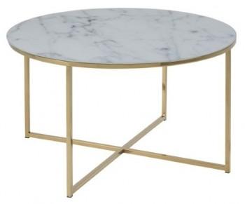 Okrągły stolik kawowy na złotej podstawie z metalu Alisma Gold / Marable