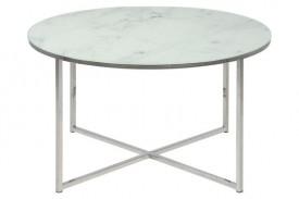 Okrągły stolik kawowy na srebrnej podstawie z metalu Alisma Silver / Marable