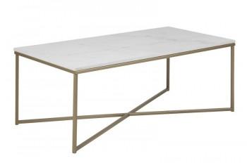 Prostokątny stolik kawowy z marmurowym blatem Alisma Brass / Marable