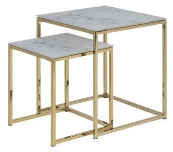 Zestaw stolików kawowych na złotej podstawie z metalu Alisma