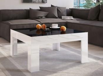 Stolik do salonu w wysokim połysku Simple 80x80 z czarnym blatem i białymi nogami