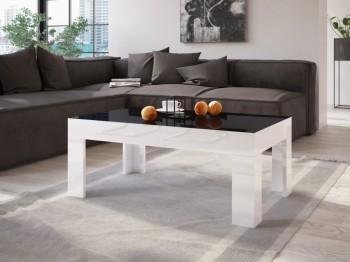Ława do salonu w wysokim połysku Simple 100x60 z czarnym blatem i białymi nogami