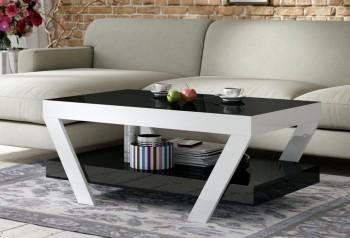 Akrylowa ława pokojowa z półką Vegan 100x60 z czarnym blatem i białymi nogami