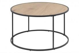 Okrągły stolik kawowy w stylu industrialnym Seaford dąb