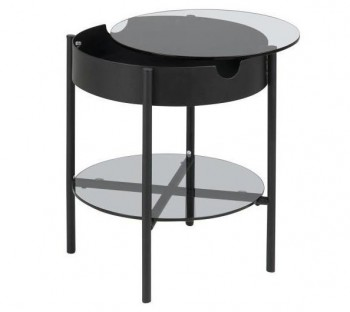 Okrągły stolik pomocniczy ze szklanym blatem i półką Tipton Glass S
