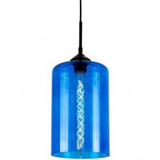 Niebieska lampa sufitowa London Loft 6 ze szklanym kloszem