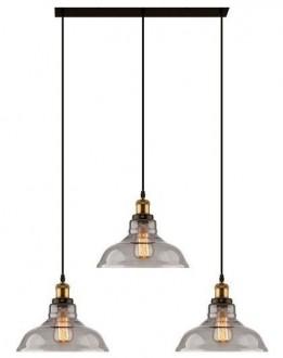 Mosiężna lampa wisząca New York Loft 3 CL ze szklanymi kloszami