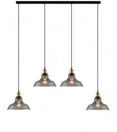 Mosiężna lampa wisząca New York Loft 3 CL4 z dymionymi kloszami