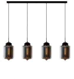 Szklana lampa wisząca London Loft 2 CL4 z dymionymi kloszami