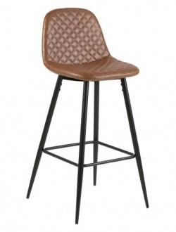 Pikowany stołek barowy z siedziskiem z ekoskóry Wilma Brandy