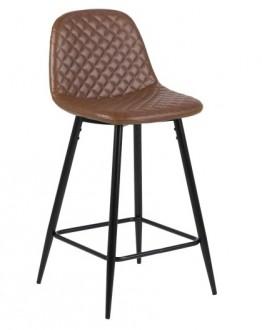 Niski stołek barowy z pikowanym siedziskiem z ekoskóry Wilma Brandy