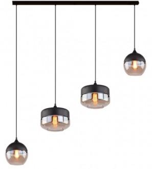 Wisząca lampa z czterema kloszami Manhattan Chic Mix 2 czarna