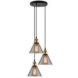 Mosiężna lampa z trzema kloszami New York Loft 1 CO