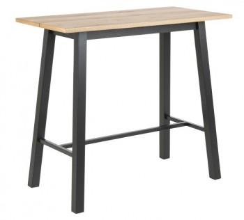 Fornirowany stół barowy na metalowych nogach Chara Wood black