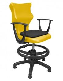 Krzesło szkolne z podłokietnikami i podnóżkiem ze stopkami Twist Soft