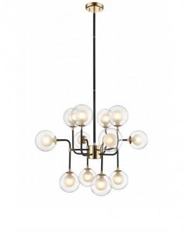 Industrialna lampa wisząca z 12 kloszami Riano transparentna