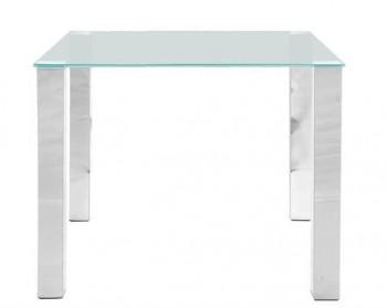 Kwadratowy stół jadalniany ze szklanym blatem i chromowanymi nogami Kante