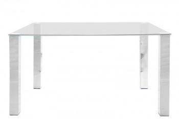 Prostokątny stół jadalniany ze szklanym blatem i chromowanymi nogami Kante I