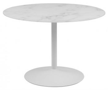 Okrągły stół ze szklanym blatem imitującym strukturę marmuru Tarifa